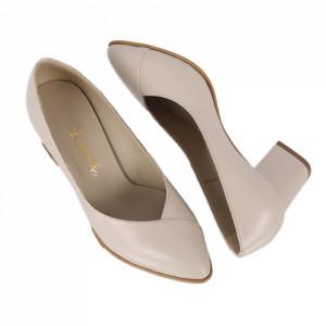 Pantofi cu toc din piele naturală cod 820 Bej
