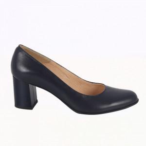 Pantofi cu toc din piele naturală cod 915 Navy