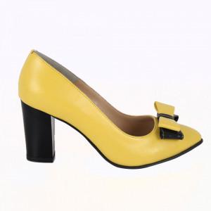 Pantofi cu toc din piele naturală cod P558 Yellow