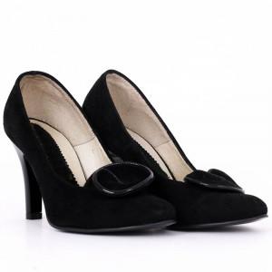 Pantofi Cu Toc din piele naturală cod RAX818 Negri