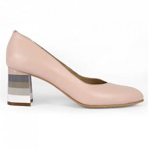Pantofi cu toc din piele naturală Cod S20 Nude