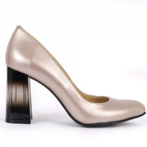 Pantofi cu toc din piele naturală Cod S21 Crom
