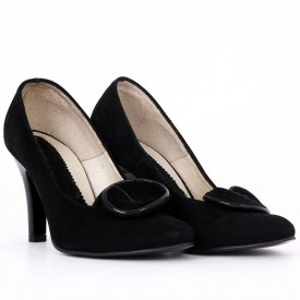 Pantofi Cu Toc din piele naturală Janet Black