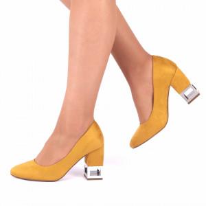 Pantofi Cu Toc Rosa Galbeni