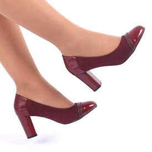 Pantofi Cu Toc Suedi Wine Red - Pantofi cu vârf rotund şi toc gros din piele ecologică, foarte confortabili cu un calapod comod - Deppo.ro