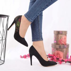 Pantofi Cu Toc Taniyah Black - Pantofi din piele ecologică, foarte confortabili potriviți pentru evenimente speciale. - Deppo.ro