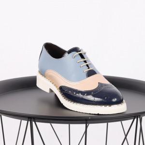 Pantofi din piele naturală albastră Cod 490 - Pantofi damă din piele naturală, foarte confortabili cu un tălpic special care conferă lejeritate chiar și în cazurile în care petreci mult timp stând în picioare. - Deppo.ro