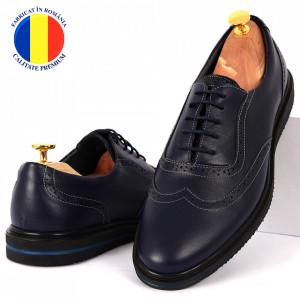 Pantofi din piele naturală albaștri cod 92523 ABS