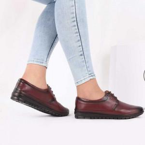 Pantofi din piele naturală Bordo Cod 856634 - Pantofi pentru dame din piele naturală Închidere cu şiret Calapod comod - Deppo.ro