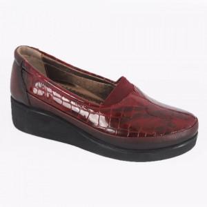 Pantofi din piele naturală cod 005 Visinii