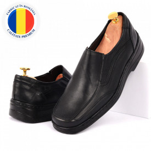 Pantofi din piele naturală cod 06-N Negri