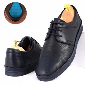 Pantofi din piele naturală Cod 1000-2 Navy