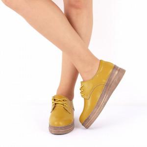 Pantofi din piele naturală cod 1012 Galbeni - Pantofi galbeni pentru dame din piele naturală cu talpă flexibilă - Deppo.ro
