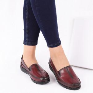 Pantofi din piele naturală cod 118120 Vișinii