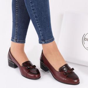 Pantofi din piele naturală cod 118948 Vișinii
