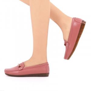 Pantofi din piele naturală cod 301 Roz - Pantofi roz pentru dame din piele naturală cu talpă flexibilă - Deppo.ro