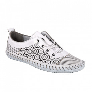 Pantofi din piele naturală cod 30110 Beyaz