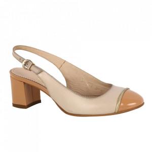 Pantofi din piele naturală cod 3078 Beige