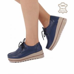 Pantofi din piele naturală cod 3089 Navy
