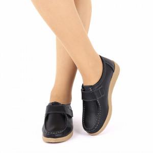 Pantofi din piele naturală cod 8518 Negri - Pantofi negrii pentru dame din piele naturală cu talpă flexibilă - Deppo.ro