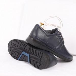 Pantofi din piele naturală cod 89912 Albaștrii - Pantofi din piele naturală, model simplu, finisaje îngrijite cu undesign deosebit - Deppo.ro