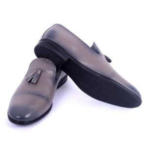 Pantofi din piele naturală cod 940 Grey - Pantofi din piele naturală interior-exterior ideali la ținute casual sau elegante cu un calapod comod - Deppo.ro