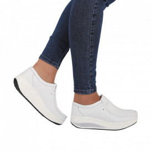 Pantofi din piele naturală cod A3888 White