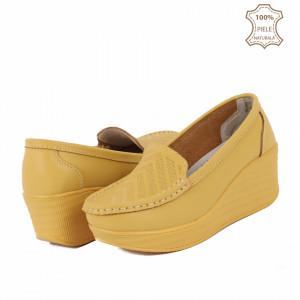 Pantofi din piele naturală cod H1789 Galbeni