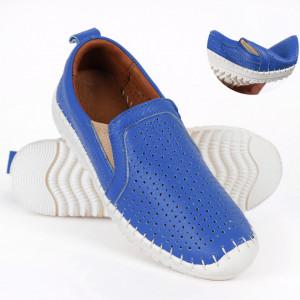 Pantofi din piele naturală Cod T485 Albaştri