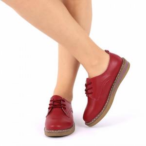 Pantofi din piele naturală Destinee Red - Pantofi pentru dame din piele naturală cu talpă flexibilă - Deppo.ro