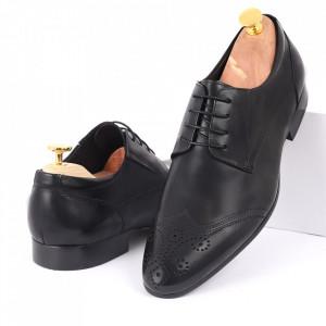 Pantofi din piele naturală negri cod 3260