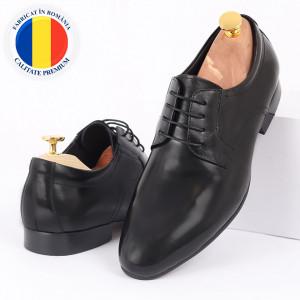 Pantofi din piele naturală negri cod 3264