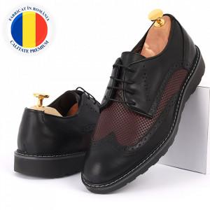 Pantofi din piele naturală negri cod 77127