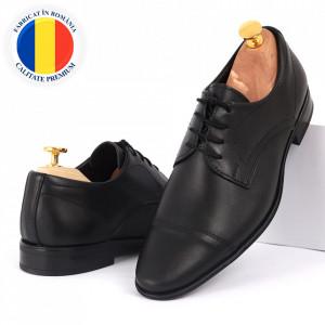 Pantofi din piele naturală negri cod 8677