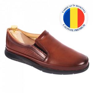 Pantofi din piele naturală pentru bărbați cod 175 Maro