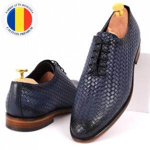 Pantofi din piele naturală pentru bărbați cod 2012 Albaştri