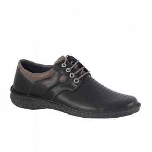 Pantofi din piele naturală pentru bărbați cod 201216 Negru