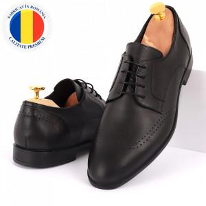 Pantofi din piele naturală pentru bărbați cod 2026 Negri