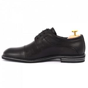 Pantofi din piele naturală pentru bărbați cod 377 Negri - Pantofi din piele naturală, model simplu, finisaje îngrijite cu undesign deosebit - Deppo.ro