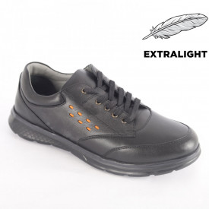 Pantofi din piele naturală pentru bărbați cod 4201 Black