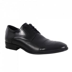 Pantofi din piele naturală pentru bărbați cod 529 Negru