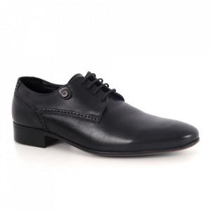 Pantofi din piele naturală pentru bărbați cod 7300 Black
