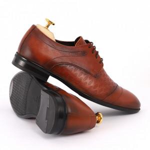 Pantofi din piele naturală pentru bărbați cod 9210 Maro deschis - Pantofi din piele naturală moale pentru bărbați, model simplu, finisaje îngrijite - Deppo.ro