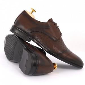 Pantofi din piele naturală pentru bărbați cod 9210 Maro închis - Pantofi din piele naturală moale pentru bărbați, model simplu, finisaje îngrijite - Deppo.ro
