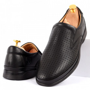 Pantofi din piele naturală pentru bărbați cod C8264 Black