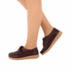 Pantofi din piele naturală pentru dame cod 8517 Brown