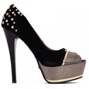 Pantofi Natalia Black - Pantofi cu toc înalt și platformă, din piele ecologică decorași cu ștrasuri - Deppo.ro