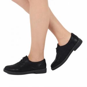 Pantofi pentru dame cod 9301 Negri - Pantofi din piele ecologică cu închidere prin șiret - Deppo.ro