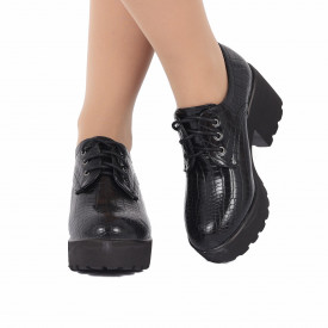 Pantofi pentru dame cod XH01 Negri - Pantofi pentru dame, din piele ecologica cu închidere prin șiret - Deppo.ro