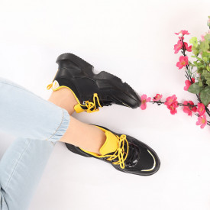 Pantofi Sport cod AB123 Negri - Pantofi sport pentru dame cu talpă înaltă din spumă foarte comodă și ușoară -piele ecologică cu închidere prin șiret - Deppo.ro